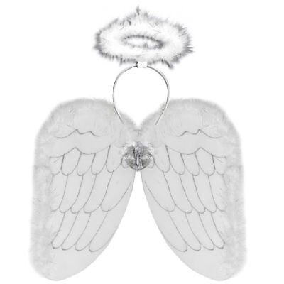 White Angel Wings And Halo Set -  ANGEL FANCY DRESS Nativity ( White & Silver ) (Angel Wings And Halo Set)