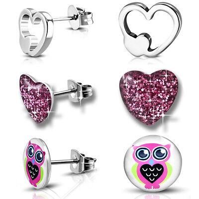 3er SET Ohrstecker Edelstahl Ohrringe für Kinder Mädchen Damen Herz Eule Silber (Ohrringe Für Kinder)