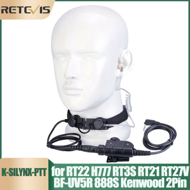 Tactical Throat Mic Headset PTT for Baofeng UV5R Kenwood Retevis RT3S RT81 Radio