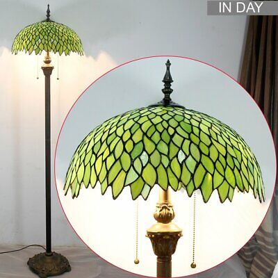 Green Wisteria Tiffany Style Floor Standing Lamp 64 Inch Tall Stained Glass Shad Green Tiffany Lamp