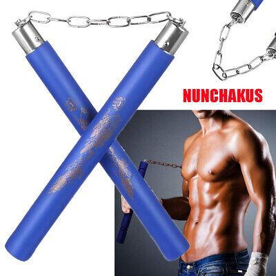 Foam Nunchucks Nunchakus Dragon Pattern for Martial Art Karate Training - Blue