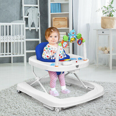 2-in-1 Foldable Baby Walker w/ Adjustable Heights & Detachable Tray Blue