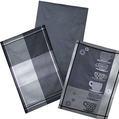 3er Pack Geschirrtücher Küchentuch Trockentuch ++ Grau ++100% Baumwolle