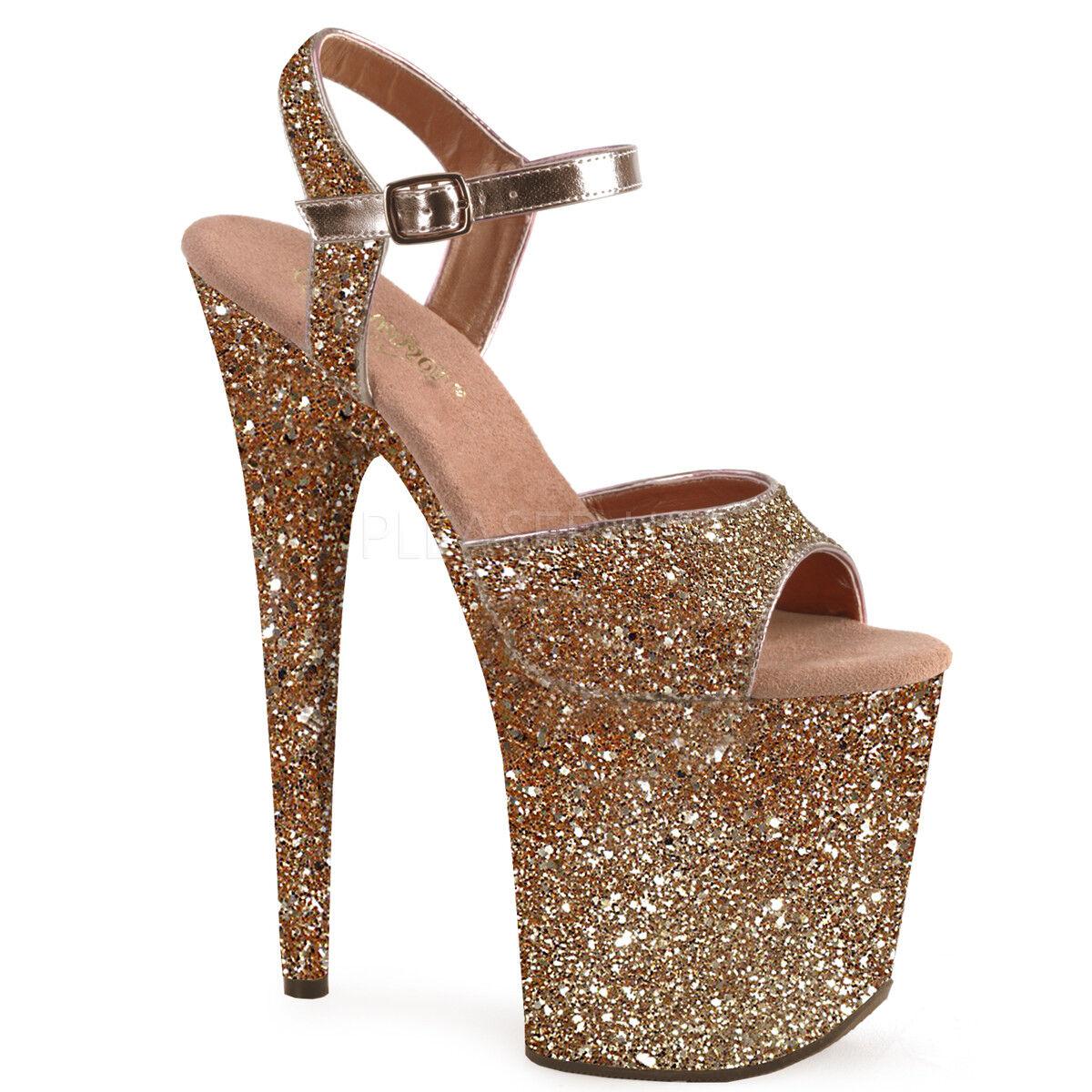 "PLEASER Sexy 8"" Heel Rose Gold Glitter Ankle Strap Stripper Platform Women Shoes"