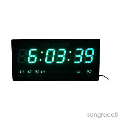 Große Schöne Grün Led Digital Wanduhr Mit Datum Temperatur Alarm
