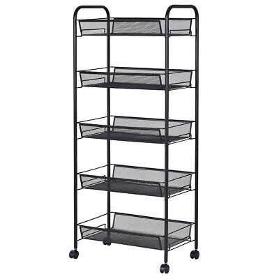 5 Tier Mesh Rolling File Utility Cart Home Office Kitchen Storage Basket Black