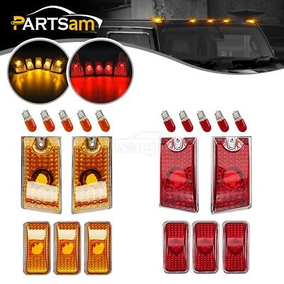 - 10xAmber/Red Lens Cab Marker Roof Running Top Lights w/Bulbs for 03-09 Hummer H2