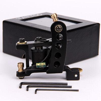 Wire Cutting Iron Coil Tattoo Machine 10 Wraps Tattoo Coils Gun for Liner Black ()