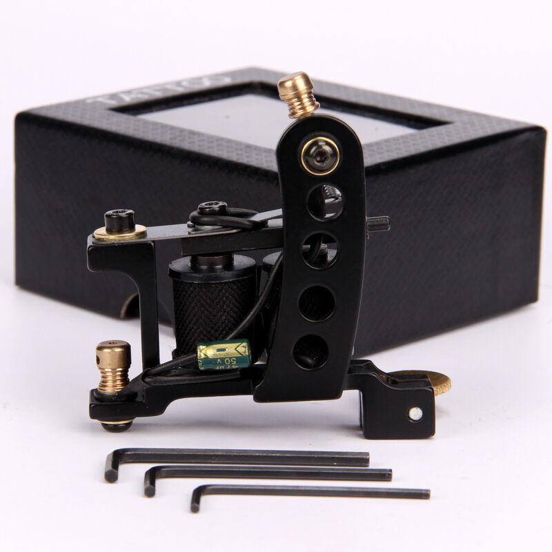 Wire Cutting Iron Coil Tattoo Machine 10 Wraps Tattoo Coils Gun for Liner Black