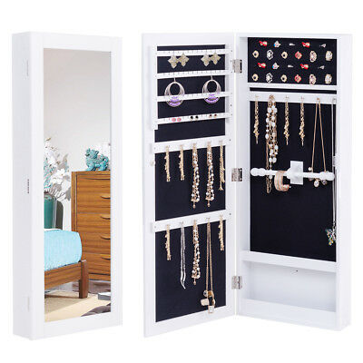 Wall Mounted Mirrored Jewelry Cabinet Armoire Storage Organizer Christmas Gift