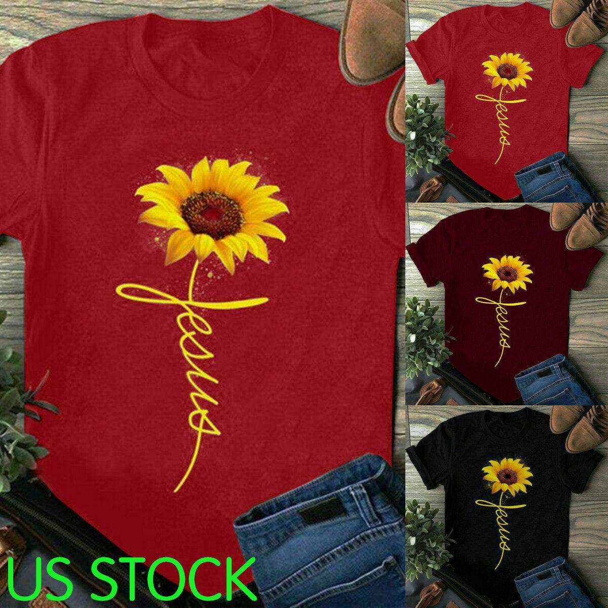womens tops sunflower printed faith t shirt