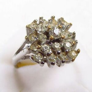 Vintage 18kge signed Vargas rhinestone cocktail ring size 9. Antique 1940's