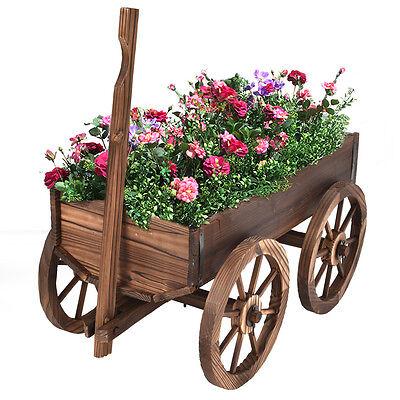Wood Wagon Flower Planter Pot Stand W Wheels Home Garden Outdoor Decor New