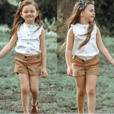 2PCS Summer Kids Baby Girl Outfits Clothes Set Button T-shirt Tops+Shorts Pants ()