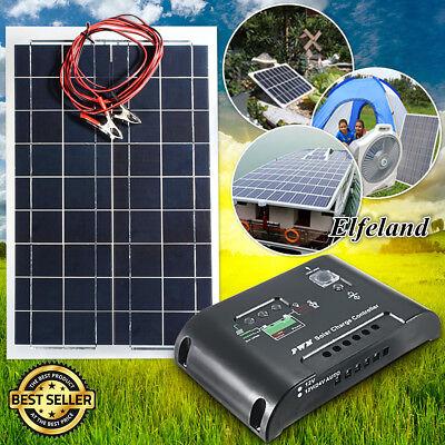 Elfeland 30W 12V Flexible Semi Solar Panel +12V/24V Solar Controller For RV Boat