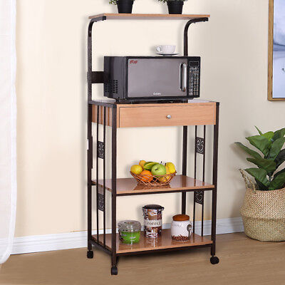 """59"""" Bakers Rack Microwave Stand Rolling Kitchen Storage Cart w/Electric Outlet"""