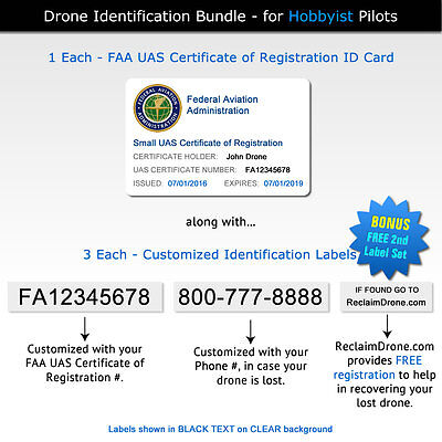 Drone Decals / Labels + FAA UAS Registration Certificate ID Card - for Hobbyist