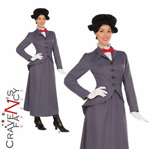 Mary Poppins Costume Ladies Edwardian Nanny Adult Fancy Dress Womens Outfit New