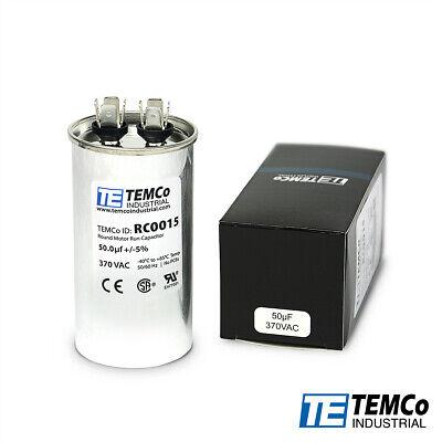 Temco 50 Ufmfd 370 Vac Volts Round Run Capacitor 5060 Hz -lot-1