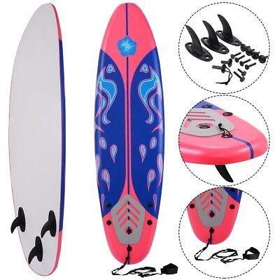 6' Surf Foamie Board Surfing Beach Surfboard Durable Foam Top Removable Fins Red - Foam Surfboard