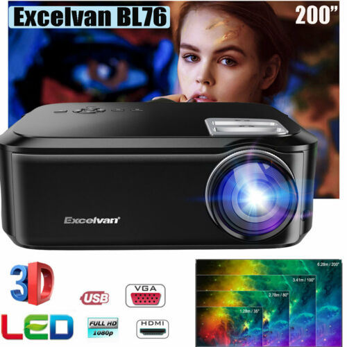 7000 Lumens 1080P Full HD LED Projector Home Theater Game Vi