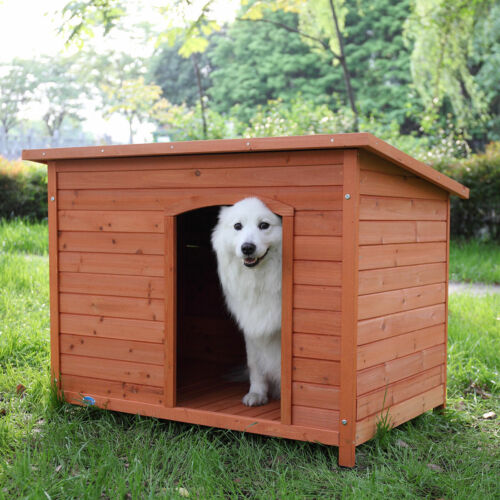 "43"" Waterproof Slant-Roofed Wood Large Dog House Kennel Cabin Pet Cage Outdoor"