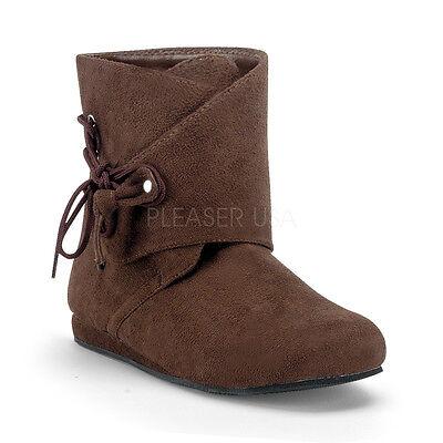 Brown Renaissance Fair Medieval Peasant Peter Pan Costume Boots Shoes Mens 10 11 - Medieval Peasant Shoes