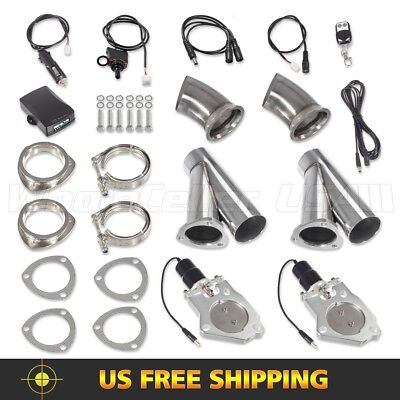 2Set 3inch Electric Exhaust Cutout Pipe Remote+Manual Switch Valve Y Headers Kit