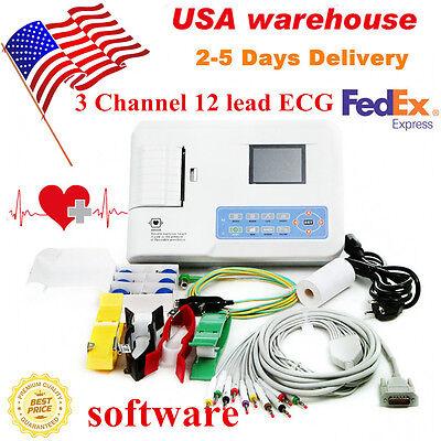 Digital 3 Channel 12 Lead Ecg Machine Ekg Electrocardiograph Software Us Seller