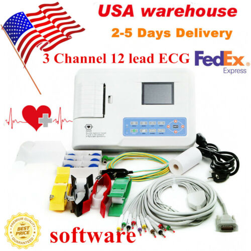Digital 3 Channel 12 lead ECG machine EKG Electrocardiograph +software US seller
