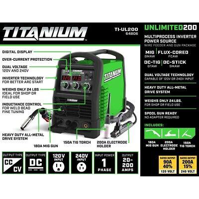 Titanium Unlimited 200 Mig Flux-cored Dc-tig Dc-stick Welder 120240 Volt Input