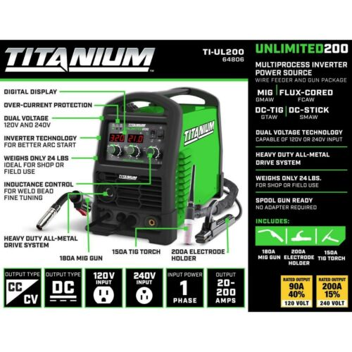 Titanium Unlimited 200 MIG FLUX-CORED DC-TIG DC-STICK  Welder 120/240 Volt Input