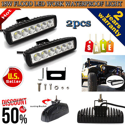 2X 6 INCH 18W LED WORK LIGHT BAR FLOOD BEAM OFFROAD DRIVING FOG 4WD LAMP UTE SUV