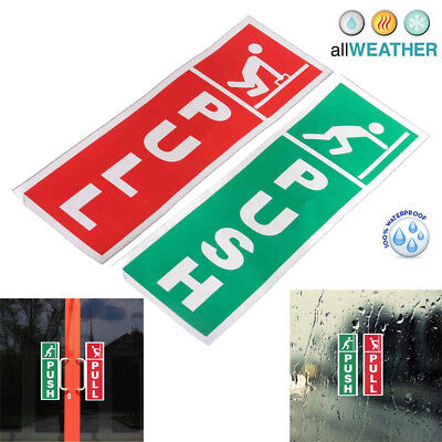Car Themed Home Decor 2X Green Push And Red Pull Door Window Vinyl Stickers Warning Seventies Home Decor