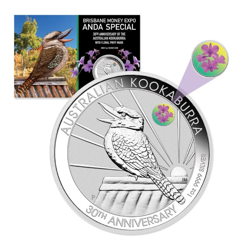 2020 ANDA Show Special Kookaburra 1oz $1 Silver Coin w/ Cooktown Orchid privy