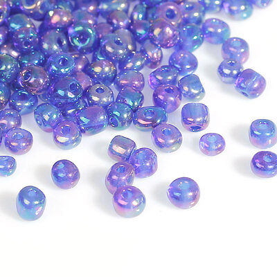 50g Blue/Violet AB Seed Beads Glass 2mm Size 11/0 J09081