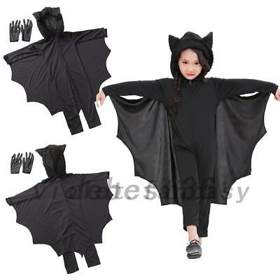Kids Girls Vampire Bat Cosplay Costume Jumpsuit Halloween Fancy Dress Outfit - Vampire Costume Girl