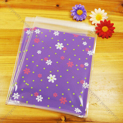 pretty purple flower cellophane cello cookie candy treat bags peel N seal party  - Purple Candy Bags