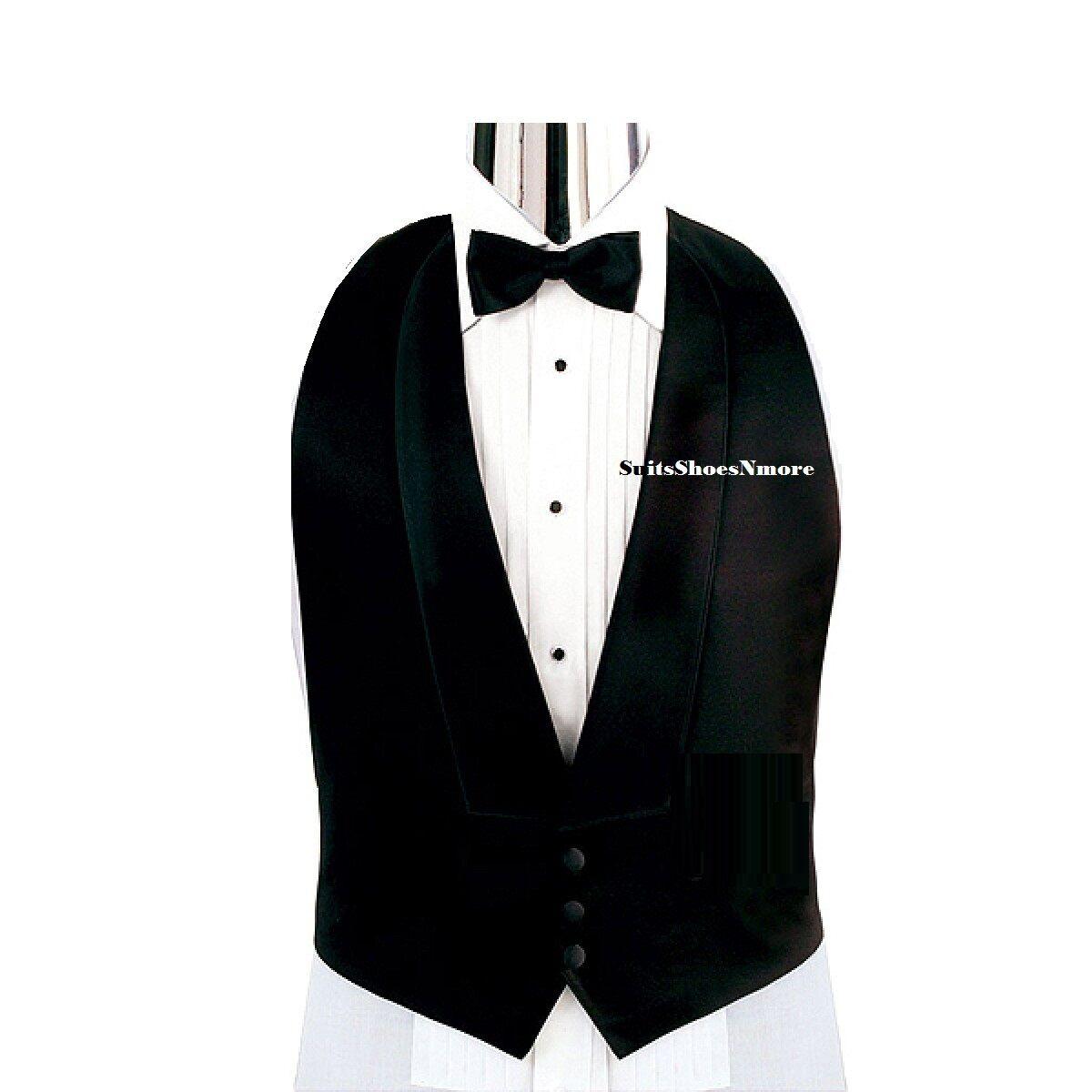 Men's Xxl Big And Tall Black Satin Tuxedo Tux Vest Bow Ti...