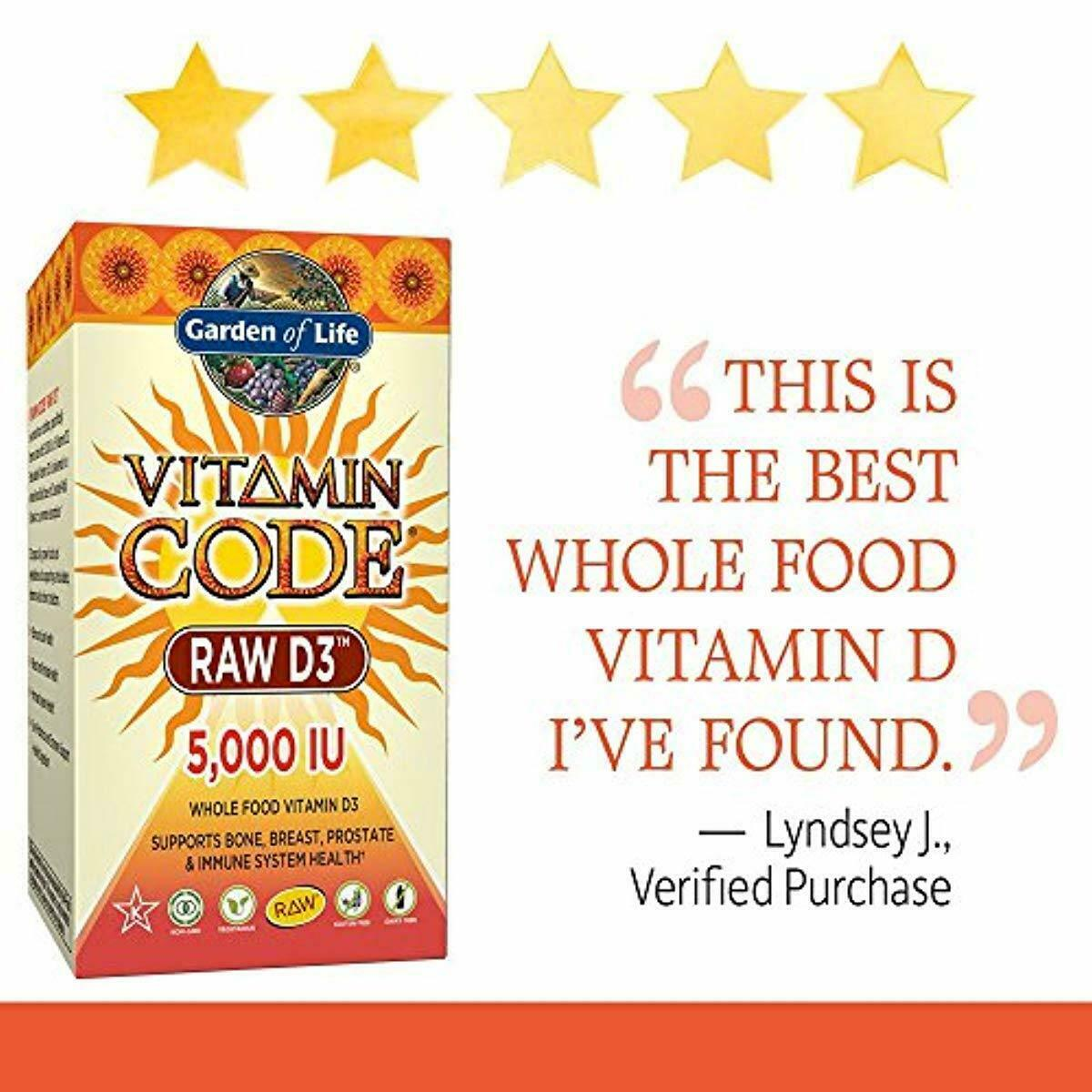 Garden of Life Raw D3 5000 IU Supplement Vitamin Code Whole