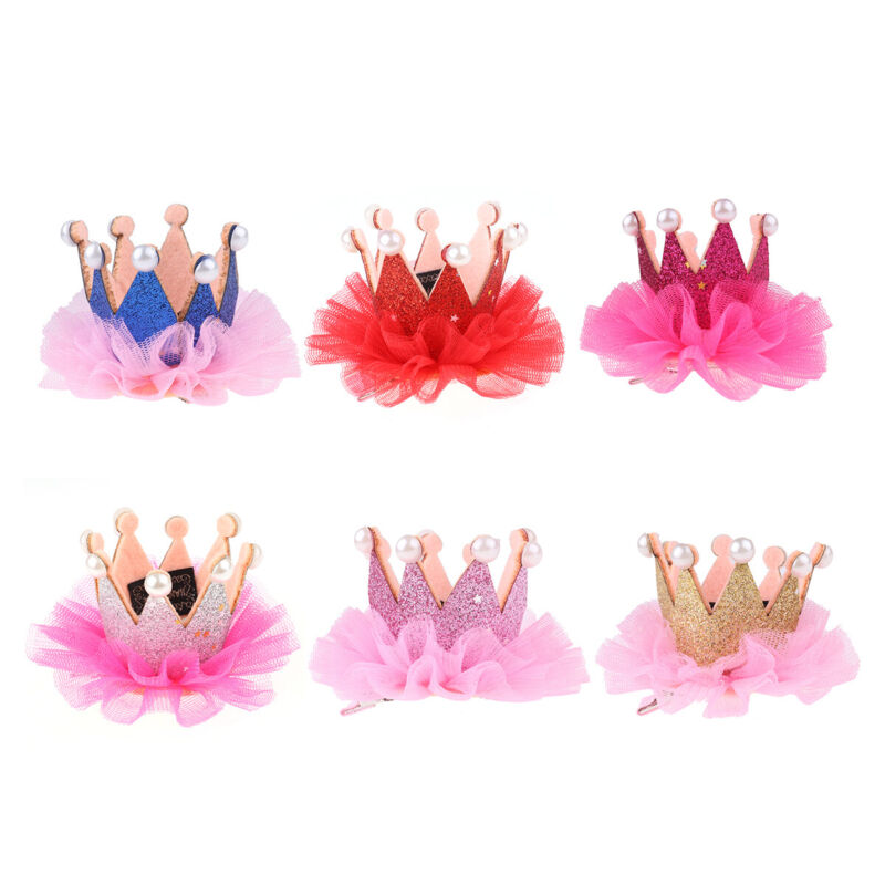 Baby Girls Lace Pearl Glitter Headband Hair Band Hair Clip Crown