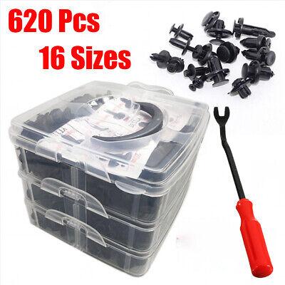 620Pcs Car Retainer Plastic Auto Fasteners Push Trim Pin Rivet Clips Plier Kit