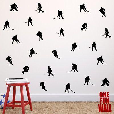 Hockey Decals Vinyl Wall Stickers 30 Players Boys Girls Teen Bedroom Decor Stick