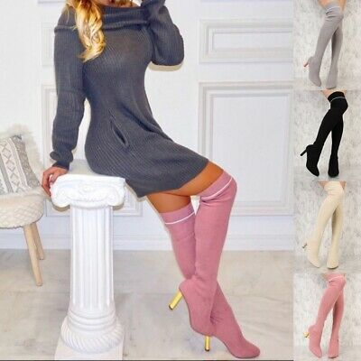 Sexy Stretch Over the Knee Thigh High Pointy Toe Chunky Heel Sock Style Boots B5 Chunky Heel Thigh High Boots