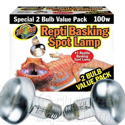 Repti Basking Spot 100 W Watt Reptile Terrarium Light 2 Bulb Value Pack Zoo Med