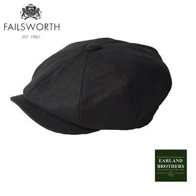 Failsworth Alfie Black Peaky Shelby Cap Baker Boy Newsboy Wool mix 8 piece cap Black Wool Cap