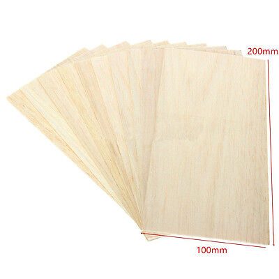 10Pcs Wooden Plate Model Balsa Wood DIY House Ship Aircraft Light 200x100x1.5mm