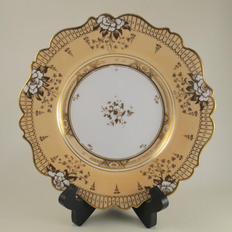 John Ridgway c1830-37 Porcelain Peach Salmon Rose Dessert Plate Royal Crest