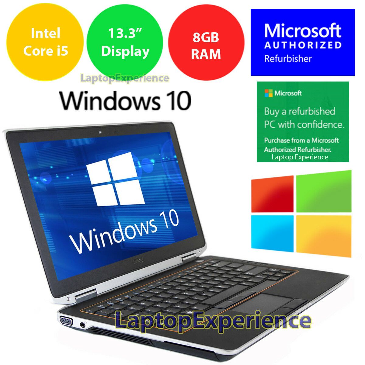 $228.00 - DELL LATITUDE E6320 LAPTOP WINDOWS 10 WIN INTEL i5 2.5GHz 8GB DVD-RW HDMI WEBCAM