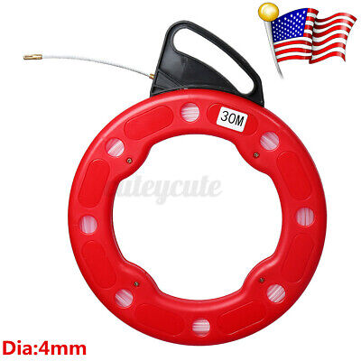 30m Fiberglass Fish Tape Reel Puller Conduit Ducting Rodder Pulling Wire Cables
